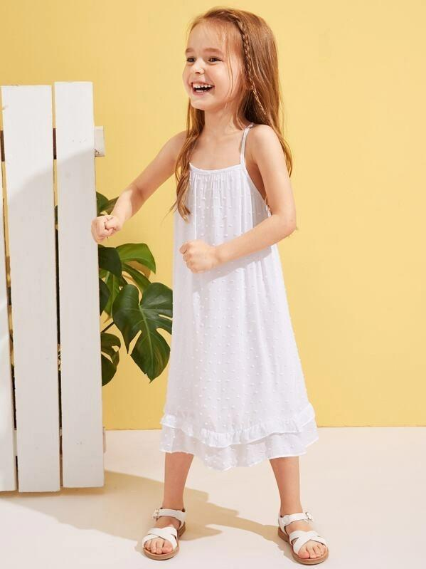 Toddler Girls Swiss Dot Ruffle Hem Slip Dress