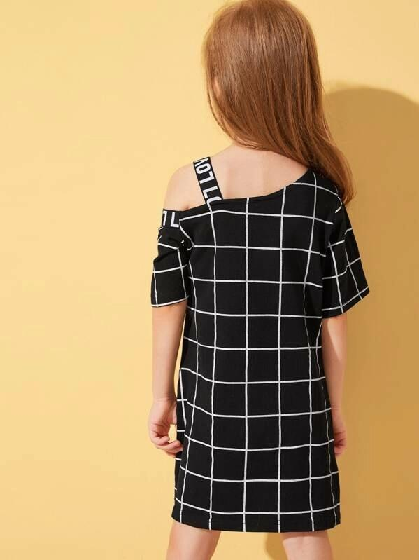 Toddler Girls Tape Asymmetrical Neck Grid Plaid Dress