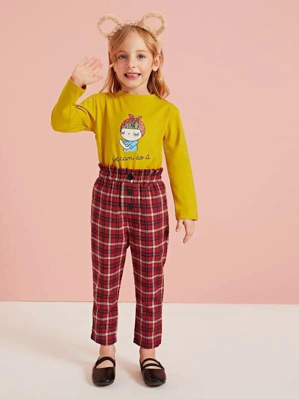 Toddler Girls Tartan Button Front Paperbag Pants