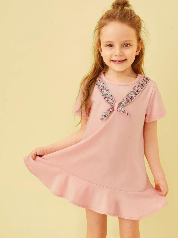 Toddler Girls Tie Front Ruffle Hem Tshirt Dress