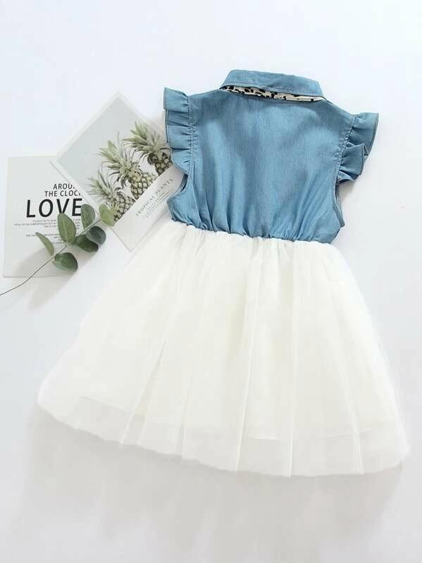 Toddler Girls Tie Neck Button Front Tulle Dress