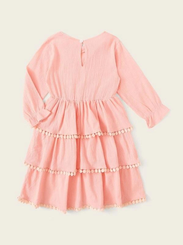 Toddler Girls Tiered Hem Button Keyhole Ruffle Sleeve Dress