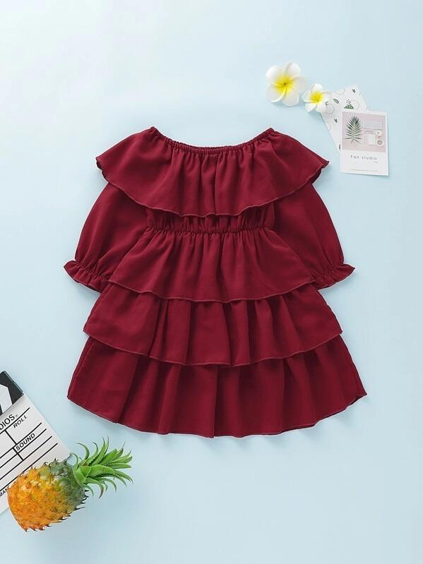 Toddler Girls Tiered Layer Off Shoulder Dress