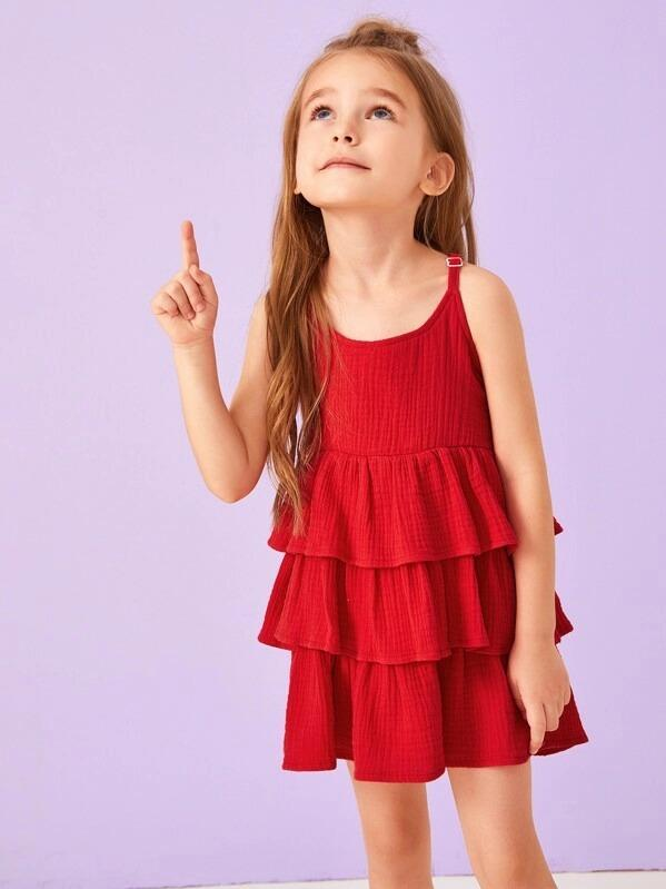 Toddler Girls Tiered Layer Ruffle Cami Dress