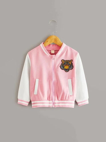 Toddler Girls Tiger Patched Striped Trim Baseball Jacket