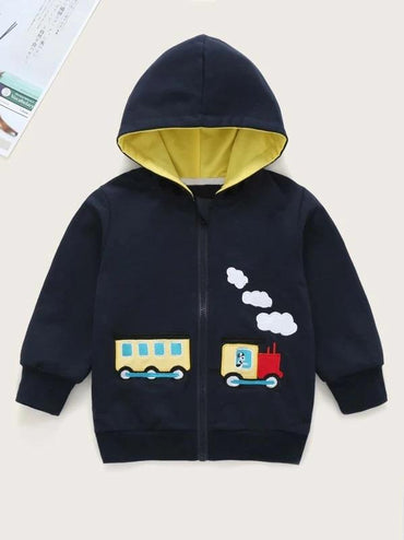 Toddler Girls Train Embroidery Hooded Coat