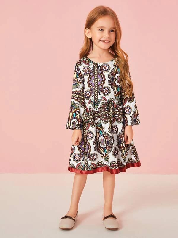 Toddler Girls Tribal Print Contrast Tape A-Line Dress