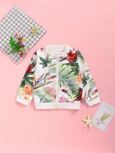 Toddler Girls Tropical Print Bomber Jacket