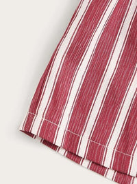 Toddler Girls Vertical-Striped Belted Paperbag Shorts