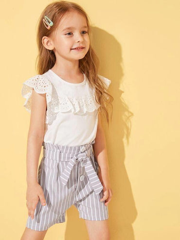 Toddler Girls Vertical-Striped Button Front Paperbag Shorts