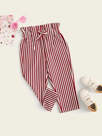 Toddler Girls Vertical-Striped Paperbag Waist Pants