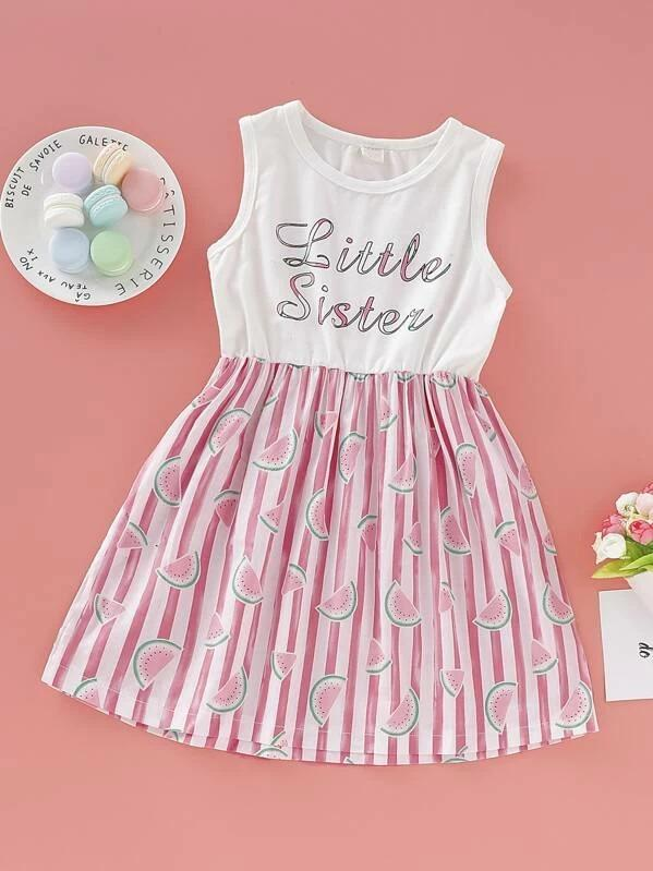 Toddler Girls Watermelon & Letter Print Flare A-Line Dress