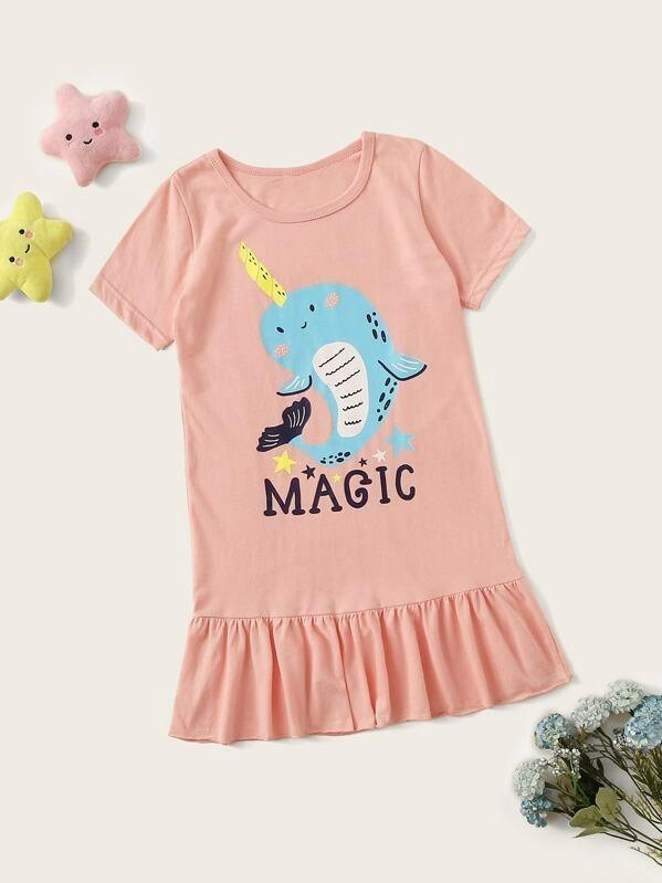 Toddler Girls Whale Graphic Ruffle Night Dress