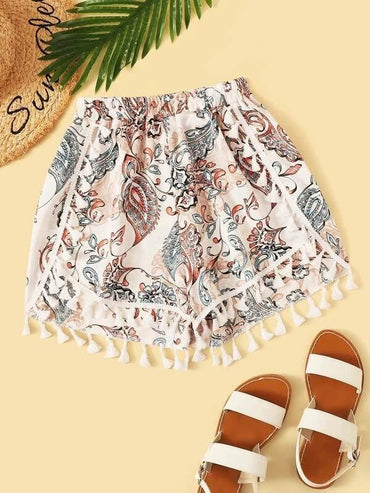 Women Tribal Print Fringe Hem Shorts