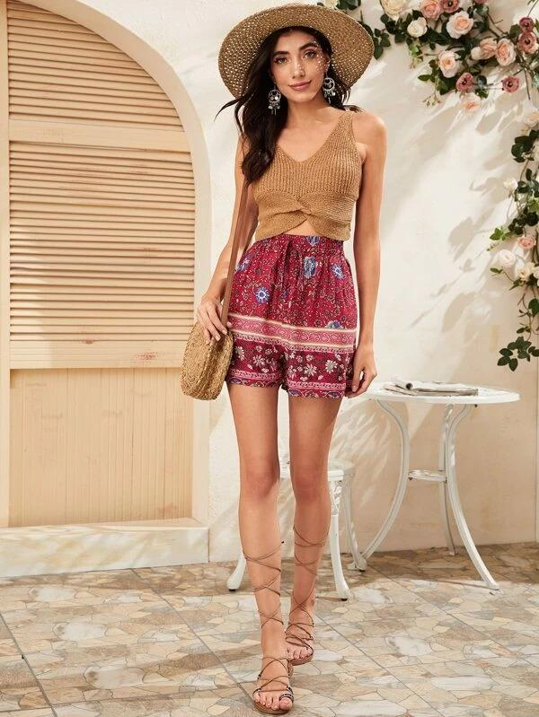 Women Tribal Print Tie Front Shorts
