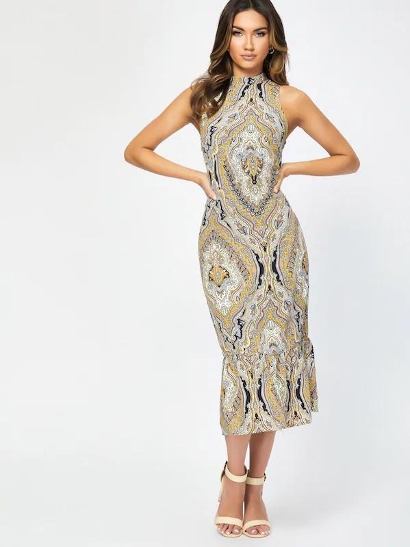 Women Tribal Print Keyhole Back Flounce Hem Dress