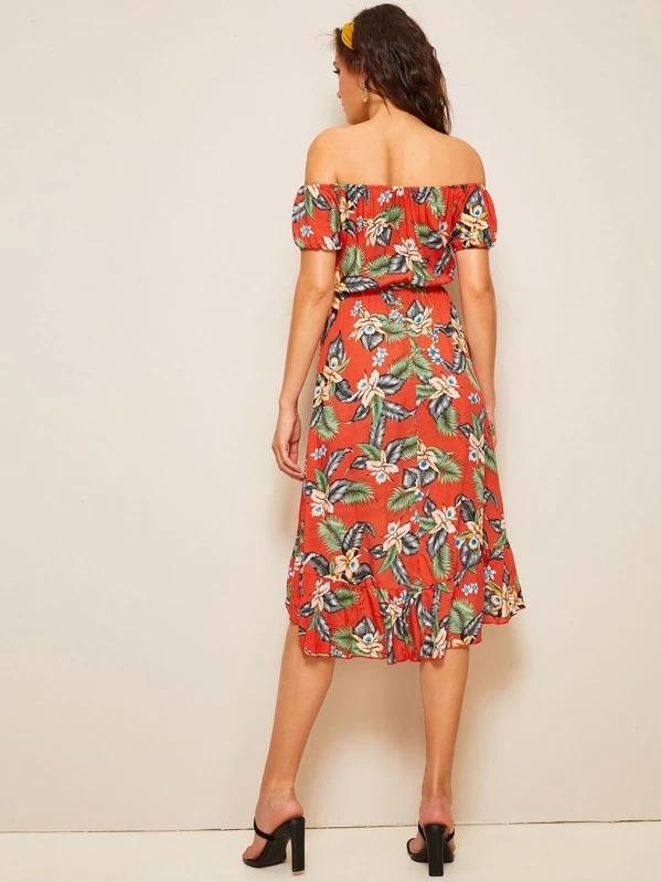 Women Tropical Floral Print Ruffle Hem Fringe Belted Bardot Dress