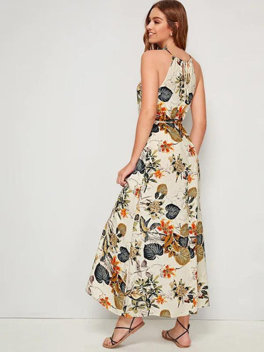 Women Tropical Print Split Thigh Belted Halter Dress