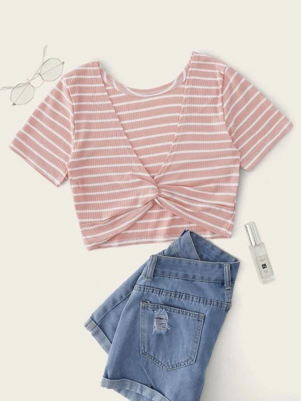 Women Twist Front Striped Ribbed Crop Tee