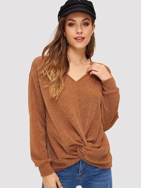 Women Twist Detail Rib-Knit Pullover
