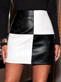 Women Two Tone PU Leather Skirt