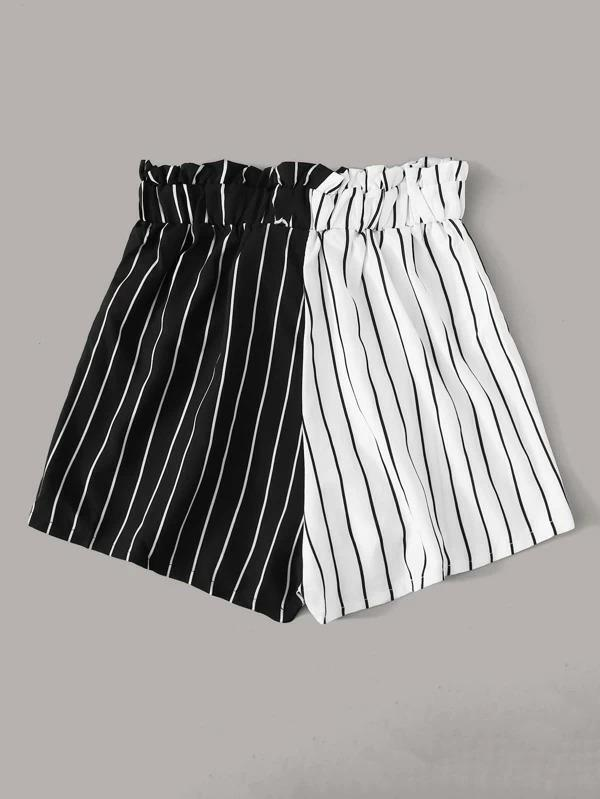 Women Two Tone Striped Tie Front Shorts