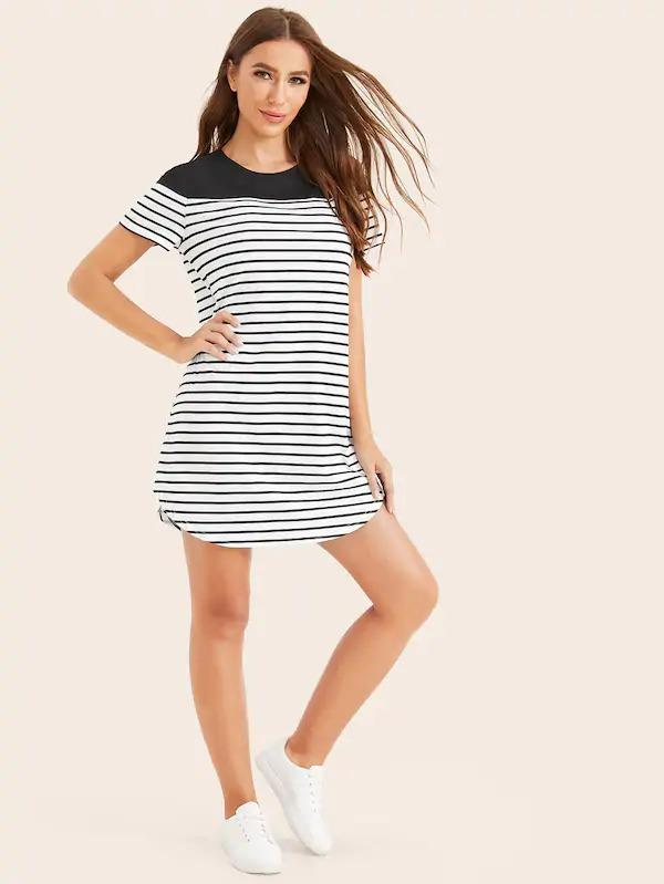 Women Two Tone Curved Hem Striped Dress