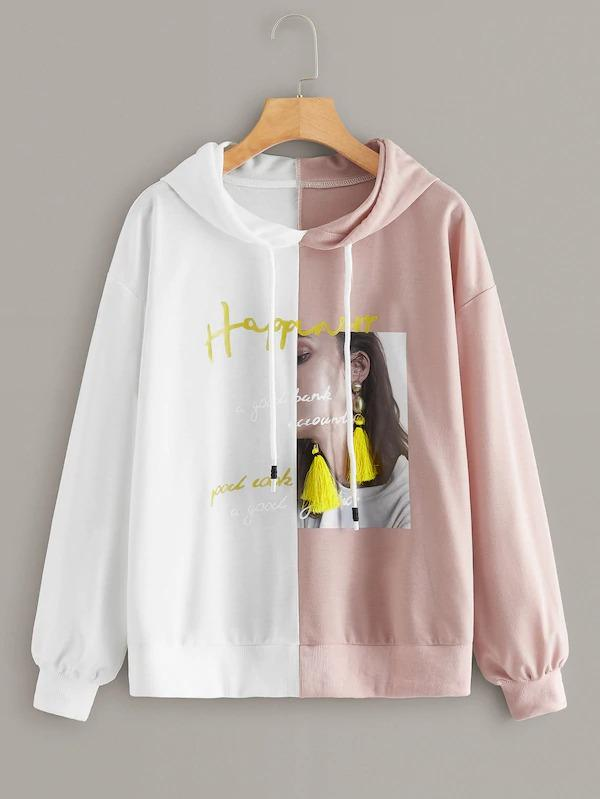 Women Two Tone Figure & Letter Print Drawstring Hoodie