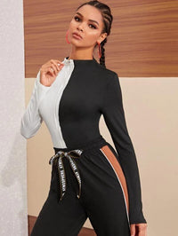 Women Two Tone O-ring Zipper Bodysuit