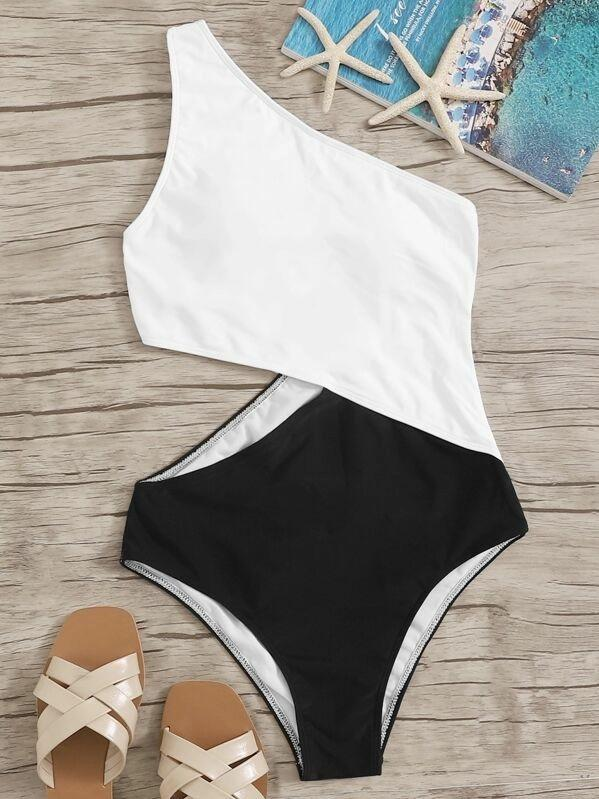 Women Two Tone One Shoulder One Piece Swimwear