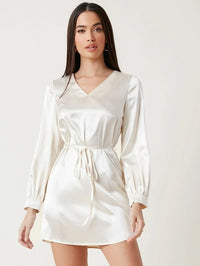 Women V-Neck Belted Solid Satin Dress
