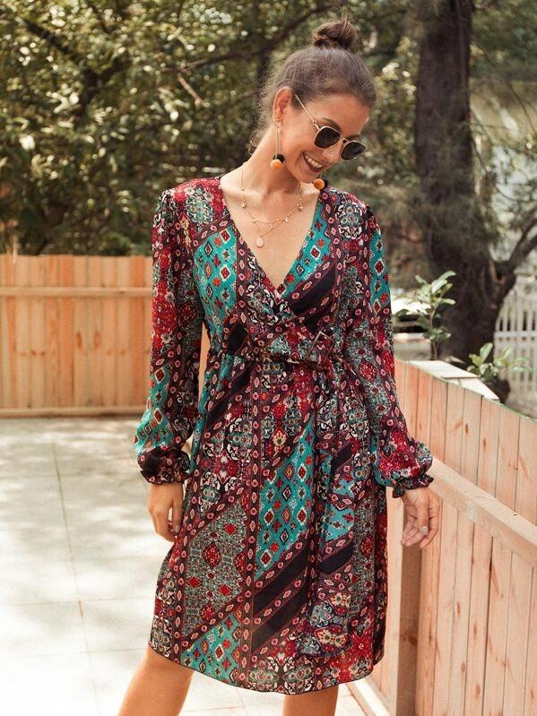 Women V-Neck Ditsy Floral Patchwork Midi Dress