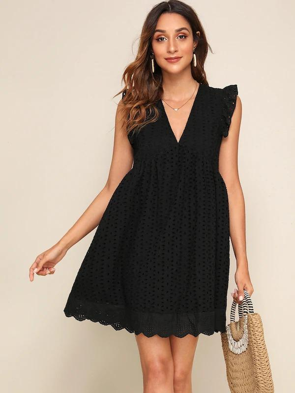 Women V-Neck Ruffle Armhole Schiffy Flare Dress