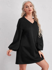 Women V-neck Drop Shoulder Lantern Sleeve Dress