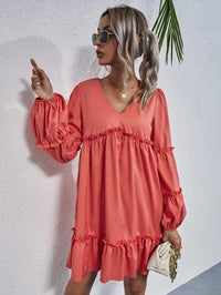 Women V-neck Frill Trim Smock Dress