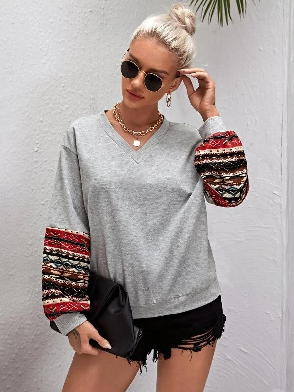Women V-neck Tribal Panel Sleeve Sweatshirt