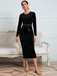 Women Velvet Belted Solid Fitted Dress