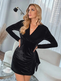 Women Velvet Ruched Wrap Fitted Dress
