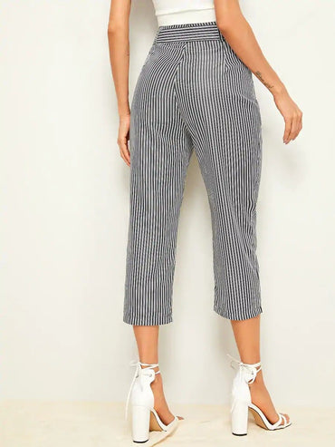 Women Vertical Striped Belted Capris Pants