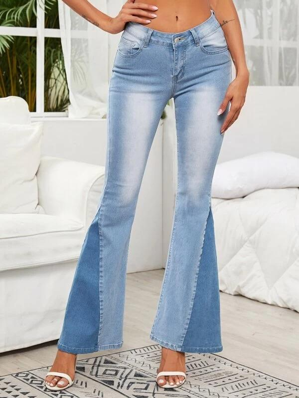 Women Washed Button Fly Flare Leg Jeans