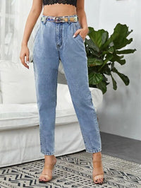 Women Washed Slant Pocket Mom Jeans
