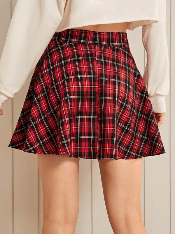 Women Wide Band Waist Tartan Flared Skirt