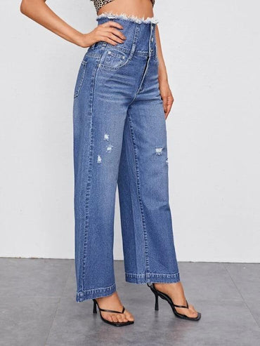 Women Wide Waistband Ripped Detail Jeans