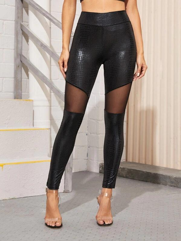 Women Wide Band Waist Mesh Insert Leggings