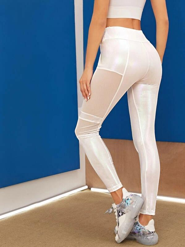 Women Wide Band Waist Mesh Insert Metallic Leggings
