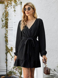 Women Wrap Ruffle Hem A-line Dress