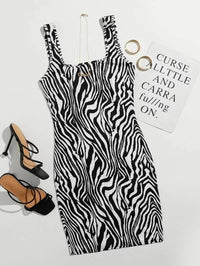 Women Zebra Striped Bodycon Dress
