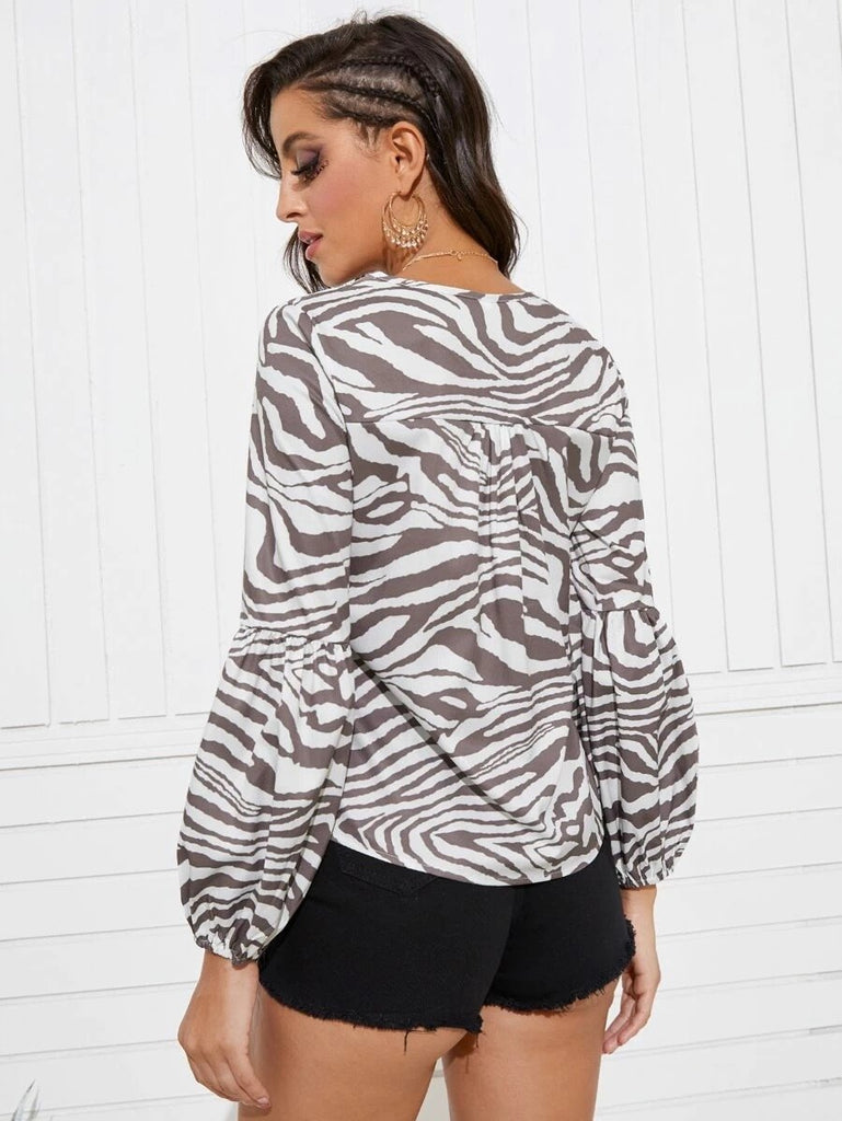 Women Zebra Striped Lantern Sleeve Blouse