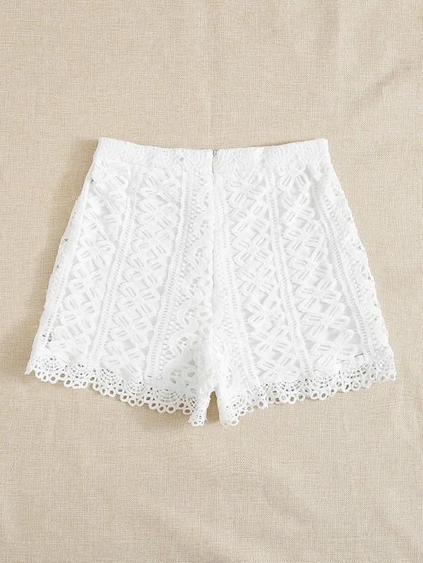 Women Zip Back Guipure Lace Shorts