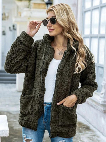Women Zip Up Drop Shoulder Teddy Jacket